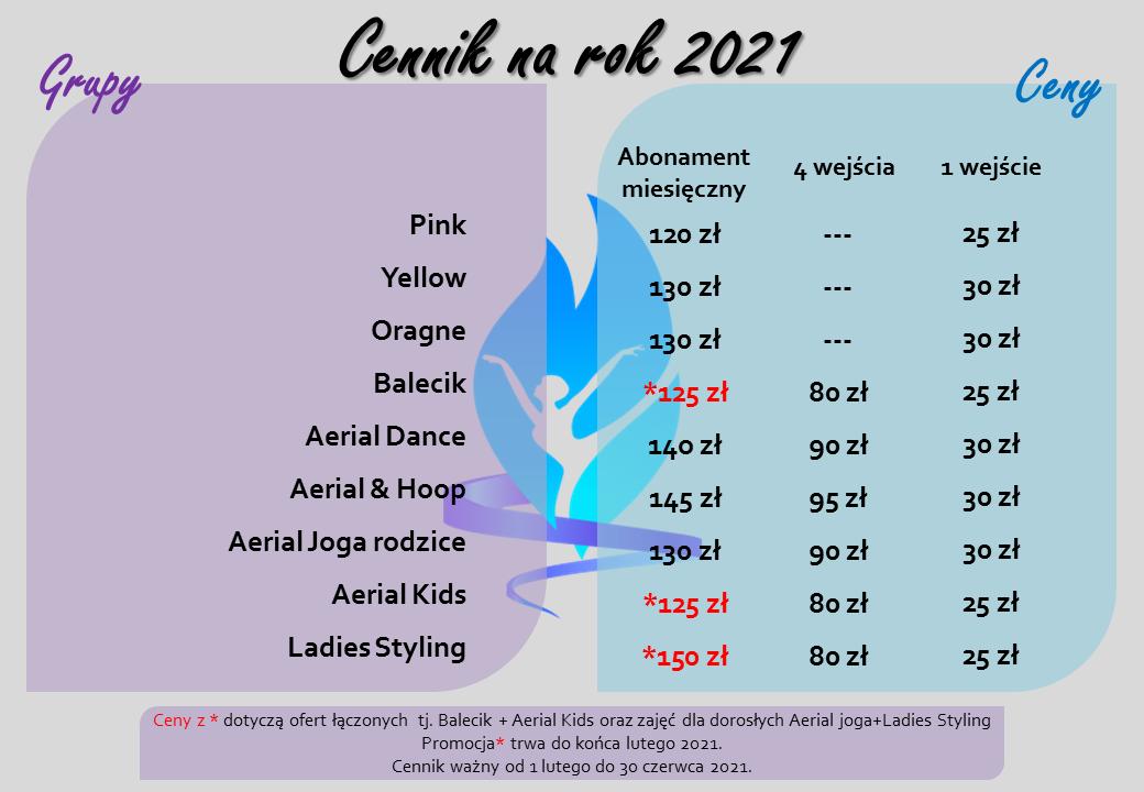 2021 styczeń cennik